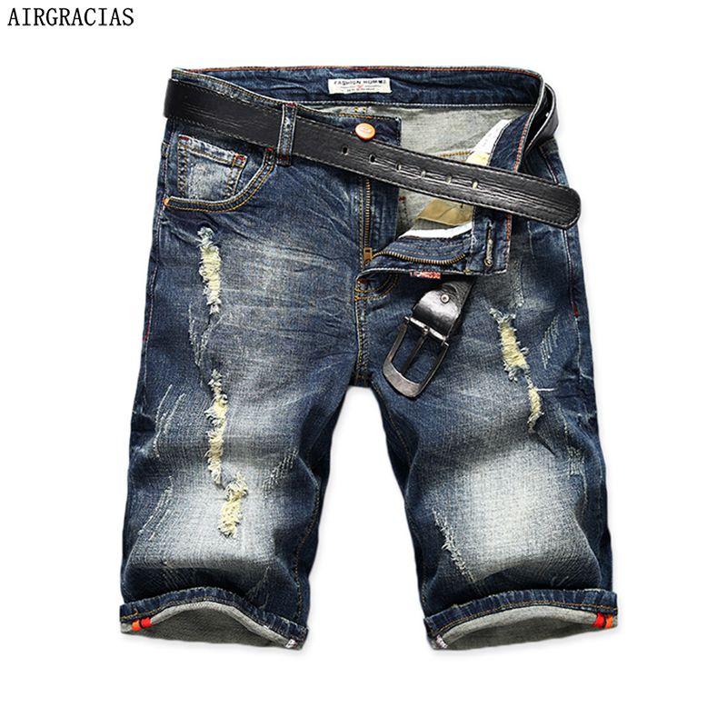 AIRGRACIAS Hommes Denim Shorts 2017 Été Droites Occasionnels Genou Longueur Court Bermudes Masculina Jeans Déchirés Shorts Pour Hommes 28-40
