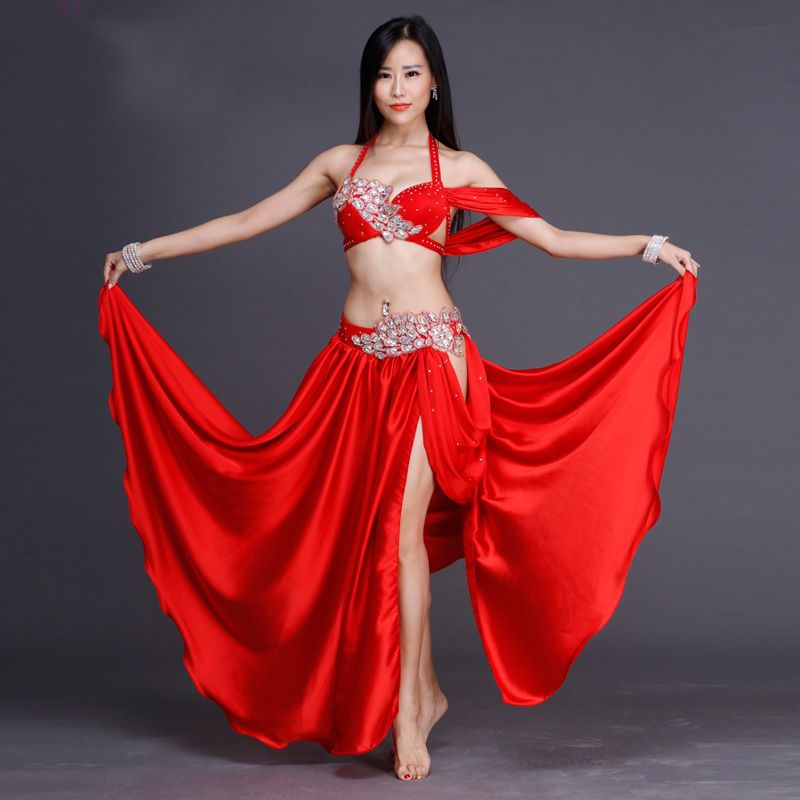 2018 Women Professional Belly Dance Costume Set Luxury Bellydance Costumes Stage Performance Diamond Decoration Bras & Skirt Set