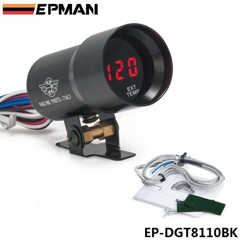 37mm Smoke Exhaust Gas Temperature EGT Gauge Red Digital Shift Light Style Meter Pod Red LED Black For BMW e3 EP-DGT8110BK