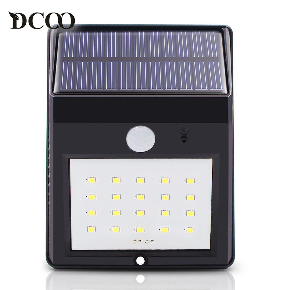 Dcoo Led Solar Lamp Light 20 LEDs Motion Sensor Garden Lamps Lampada Solar Luz Solar Garden Light Solaire Wireless Wall Lamp