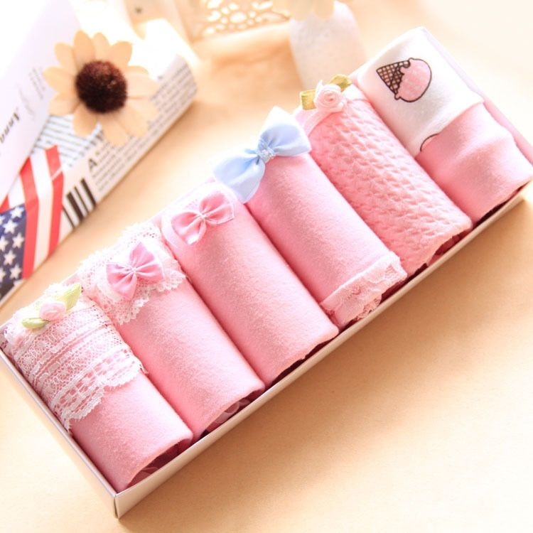 6 Pairs/Lot Women Underwear Gift Box Candy Colors Cotton Bow Lace Printing Low Waist Girl Cartoon Casual Cute Briefs Plus Size