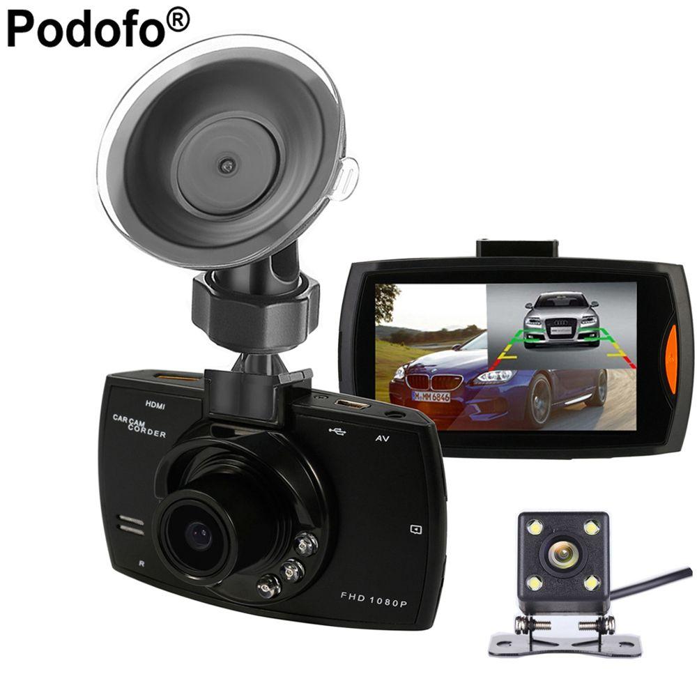2017 New Podofo Two lens Car DVR Dual Camera G30 1080P Video Recorder With Rear View Cameras Loop Recording Camcorder BlackBox