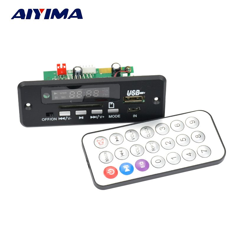 Aiyima 12V Bluetooth MP3 WAV audio decoder board with switch AUX 5P board hands-free calling