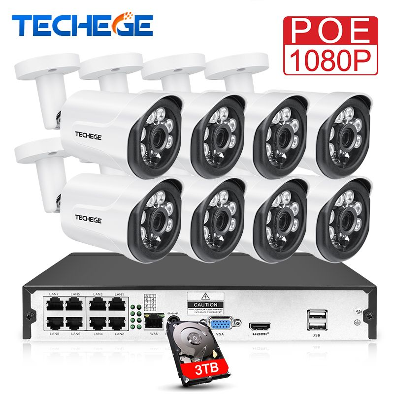 Techege 8CH 1080P POE CCTV System 2.0MP Security Camera HD IP Camera Outdoor Waterproof Motion detect Video Surveillance System