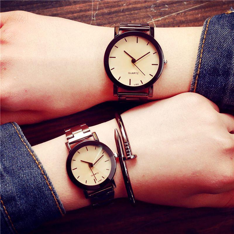 2017 BGG marca de moda en forma de diamante superficie hombres y mujeres reloj de cuarzo de acero inoxidable negro blanco simple amantes muñeca relojes
