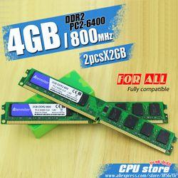 Новый 4 ГБ (2pcs2gb) ddr2 pc2-6400 800 мГц для настольных ПК памяти DIMM Оперативная память 240 контакты (для Intel AMD) Системы Высокая совместимость