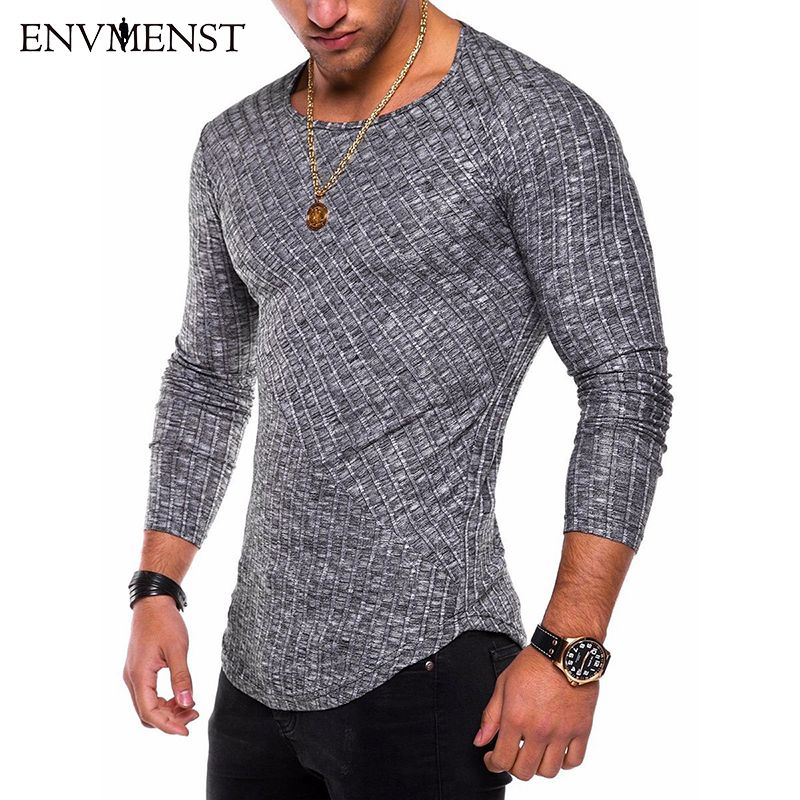 Envmenst O-Neck Slim Fit Sweater Men 2018 Fashion Spring Thin Pullover Men <font><b>Homme</b></font> Leisure Solid Color Sweater