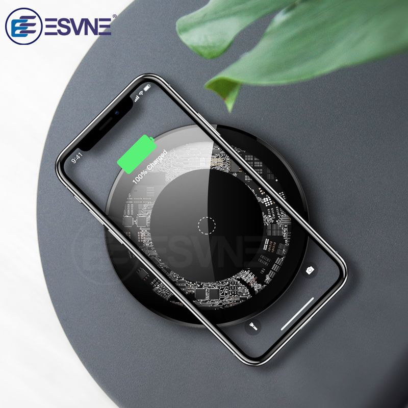 ESVNE 10 w Qi Sans Fil Chargeur pour iPhone X Xs MAX XR 8 plus USB Wireless Rapide chargeur pour Samsung xiaomi Huawei Visible De Charge