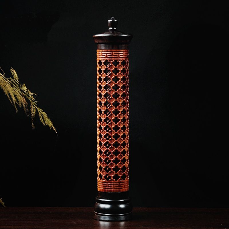 PINNY Grilles Vertical Hollow Sinking Sandalwood Incense Furnace Incense Holder Wood Incense Burners Buddhist Supplies
