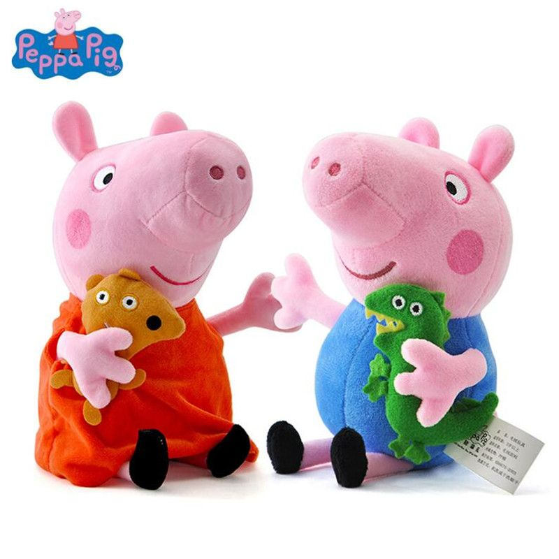 Genuine Peppa Pig 19CM Pink Pig Plush Toys High Quality Hot Sale Soft Stuffed Cartoon Animal Doll for Children's Family Party
