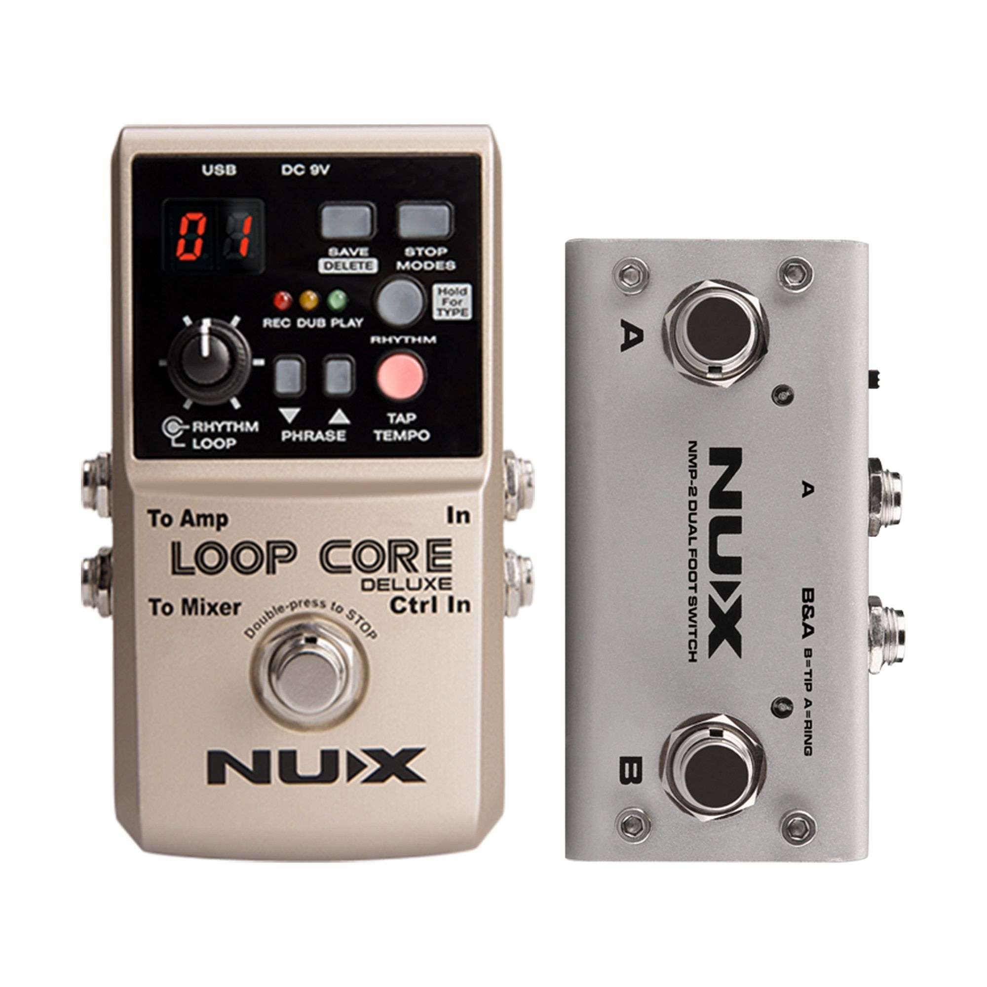NUX Loop Core Deluxe Looper Pedal 40 different drum rhythms 8 Hours Record Loop Guitar Effect Stompbox with Dual FootSwitch