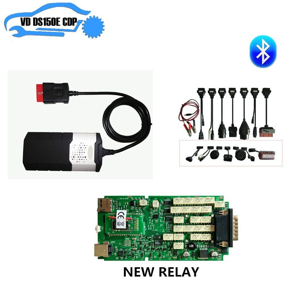 Single PCB new nec relay Bluetooth for delphis for autocoms vd ds150e cdp new vci pro plus + 8pcs full set car cable can choose