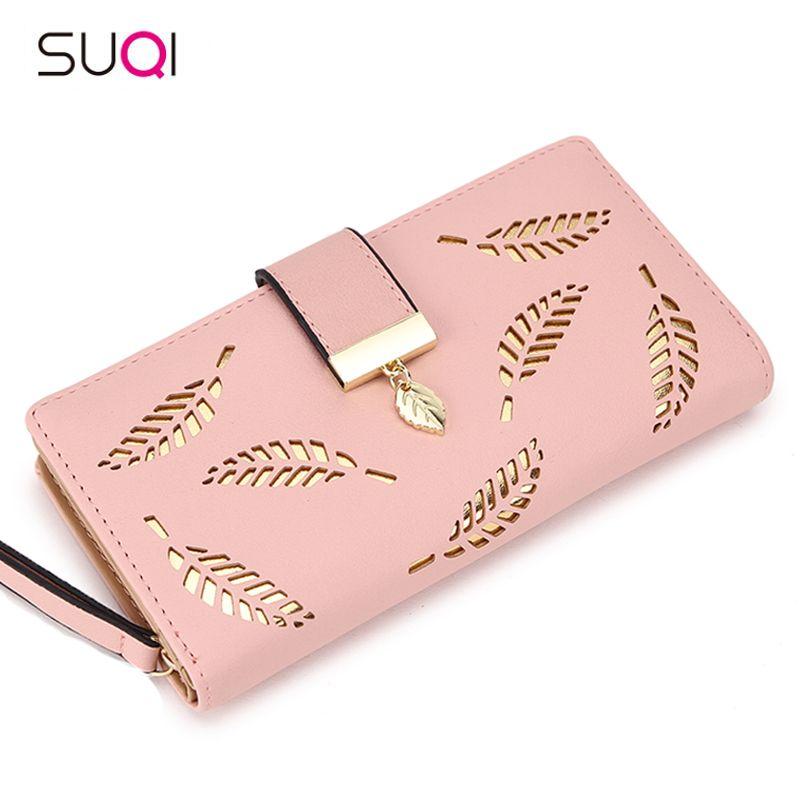 SUQI Women Wallet Female Long Wallet Gold Hollow Leaves Pouch Wallet For Women