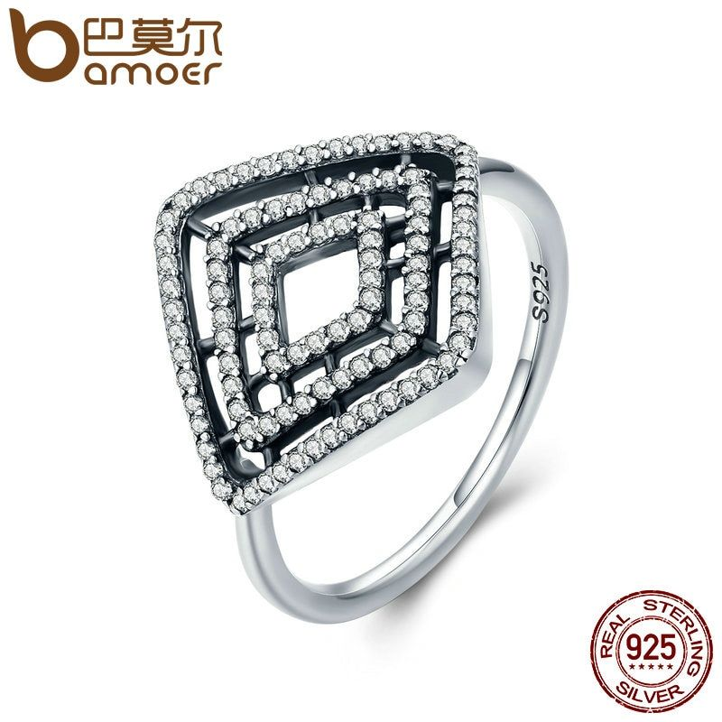 BAMOER High Quality 100% 925 Sterling Silver Geometric Lines, Clear CZ Finger Ring for Women Anel Engagement Jewelry Gift PA7642