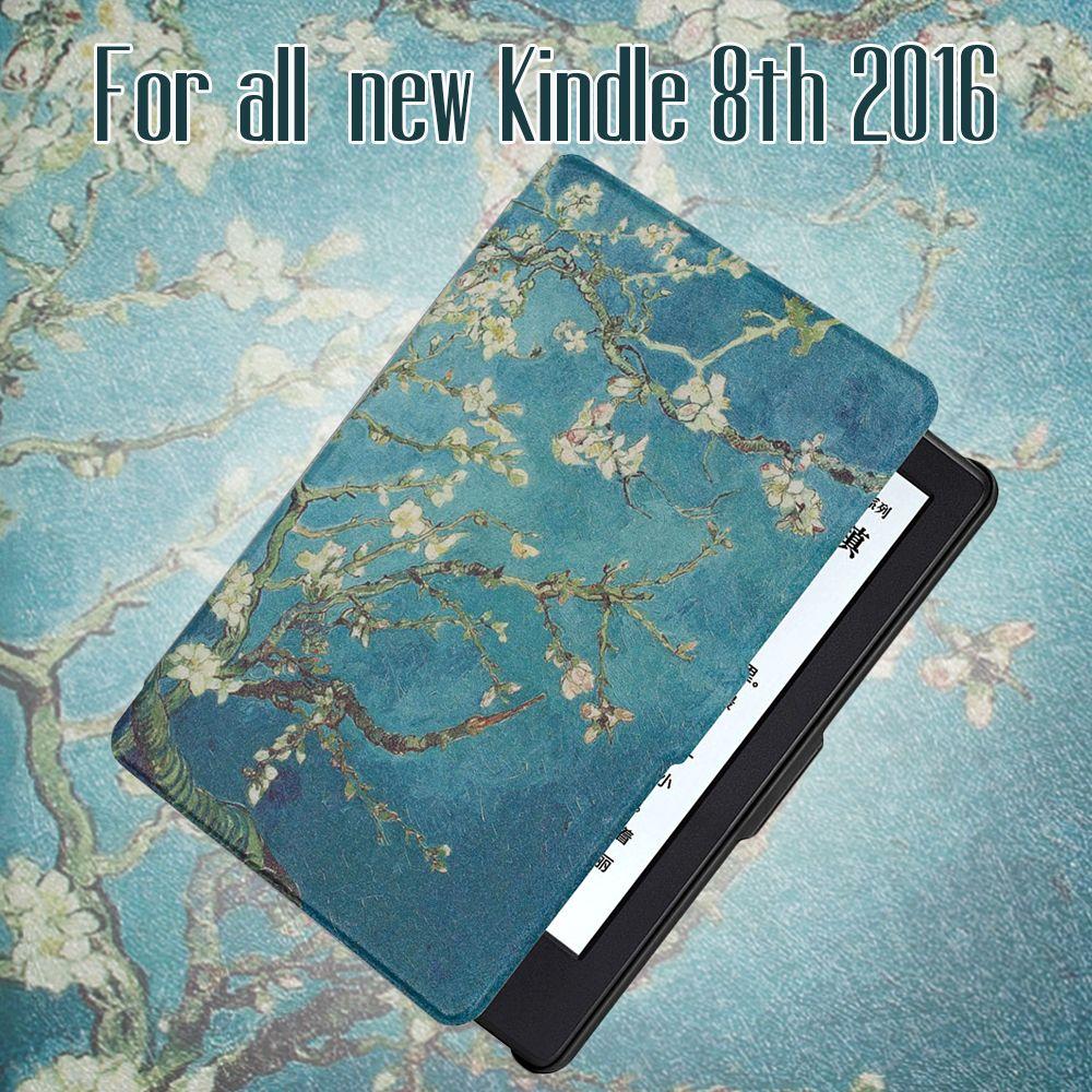 Pour Tout Nouveau Kindle 8e génération 2016 Libération PU Étui En Cuir avec auto réveil/sommeil fonction + écran protecteur + stylet