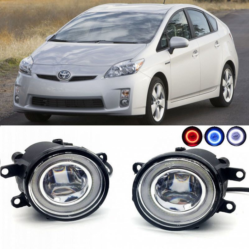 For Toyota Prius XW30 2009-2015 2 in 1 LED Cut-Line Lens Fog Lights Lamp 3 Colors Angel Eyes DRL Daytime Running Lights