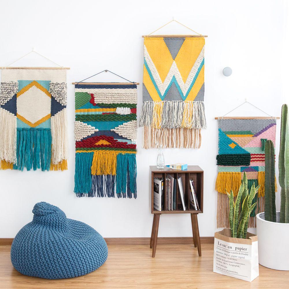 100% wolle handgefertigte Teppich geometrische Indian Tapisserie Teppich plaid striped Moderne zeitgenössische design Kelim Nordischen stil