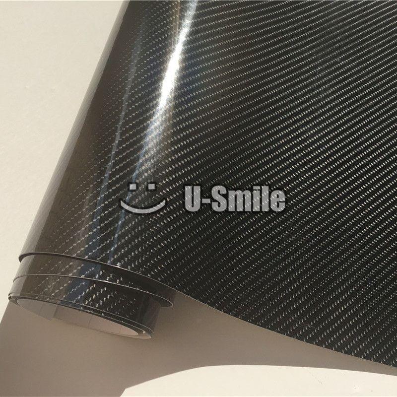 Premium Ultra Glänzend Schwarz 6D Carbon Fiber Vinyl Wrapping Film Blase Free Car Wraps Folie