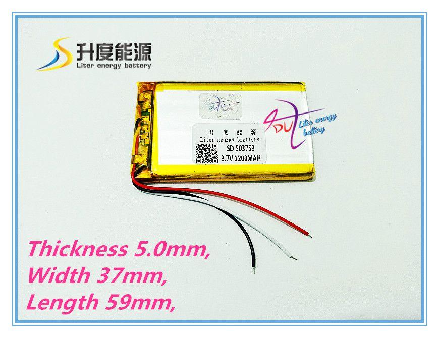 Liter energy battery 3.7V 3 line 1200MAH three line 503759 navigator battery enough tablet battery
