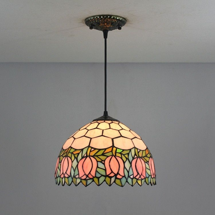 12 Inch Flesh pink Country Flowers Tiffany pendant light Stained Glass Lamp for Bedroom E27 110-240V