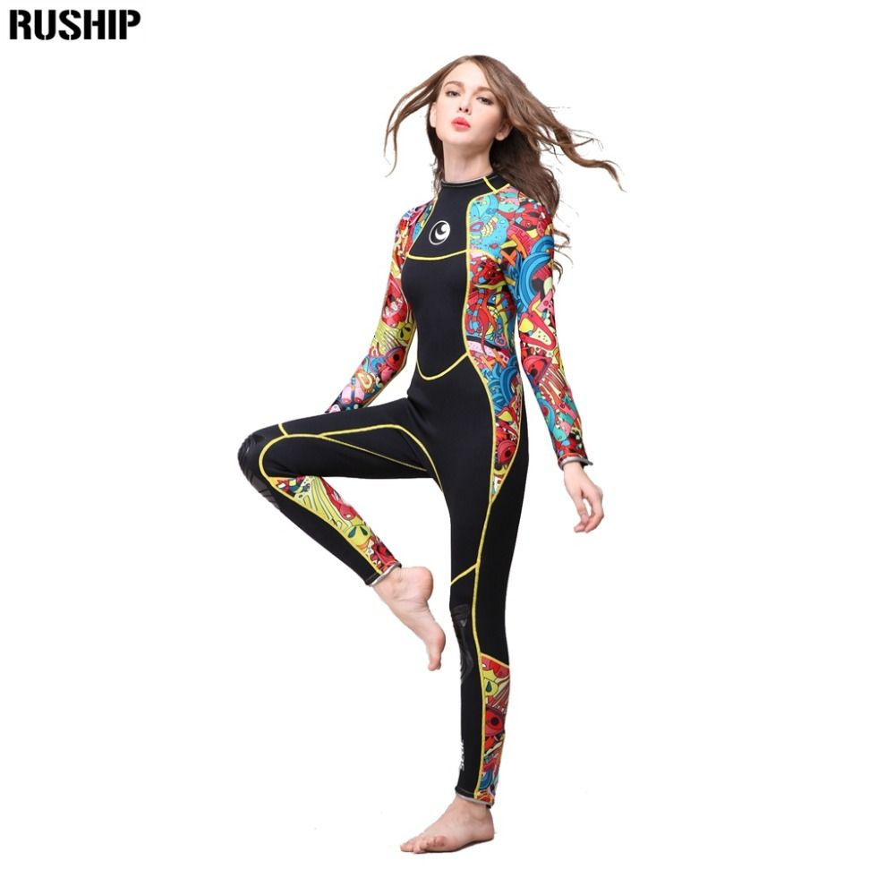 High quality 3 mm women neoprene wetsuit  High elasticity color stitching Surf Diving Equipment Jellyfish clothing long sleeved