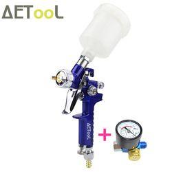 Aetool 1.0 Mm Nozzle Profesional Pistol Semprot Hvlp Udara Mini Senjata Cat Airbrush dengan Air Regulator Gauge untuk Melukis Mobil aerograph