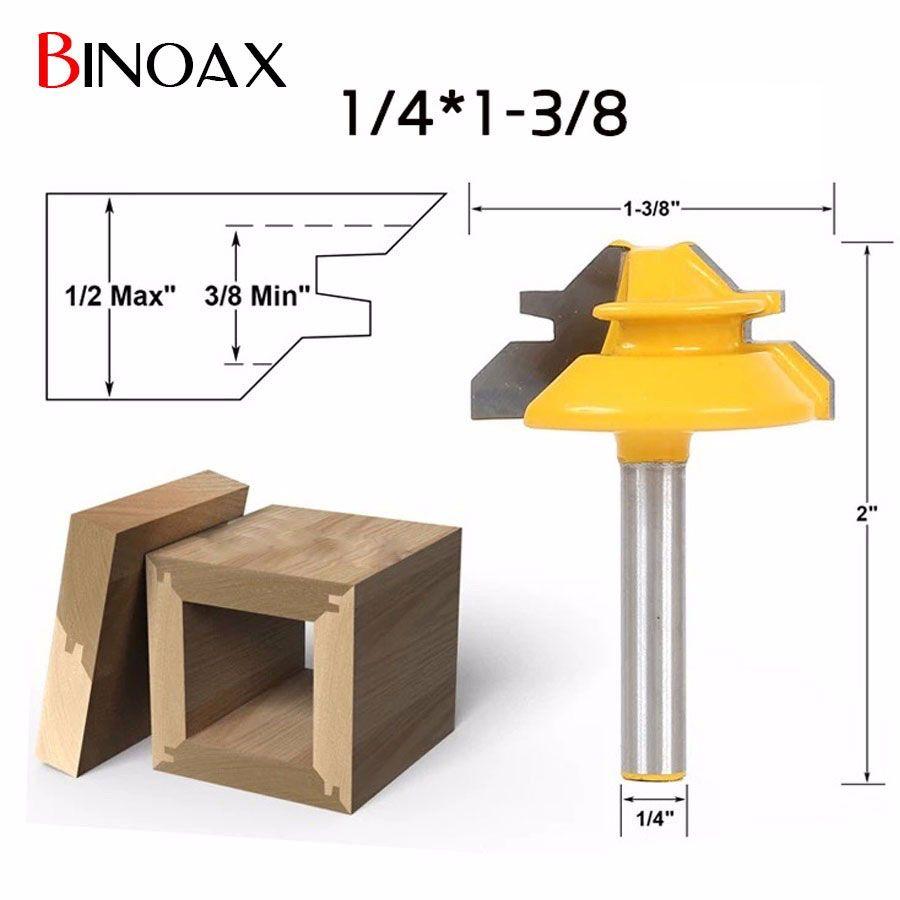 Binoax 1/4*1-3/8 2 Peu À Rainure et Languette Routeur Bit Set Boiseries Outils Électriques De Coupe-1/4