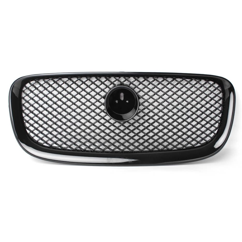 Front Upper Mesh Grille Grill For Jaguar XF XFR 2012 2013 2014 Gloss Black ABS Plastic Automobile Car Parts Accessories