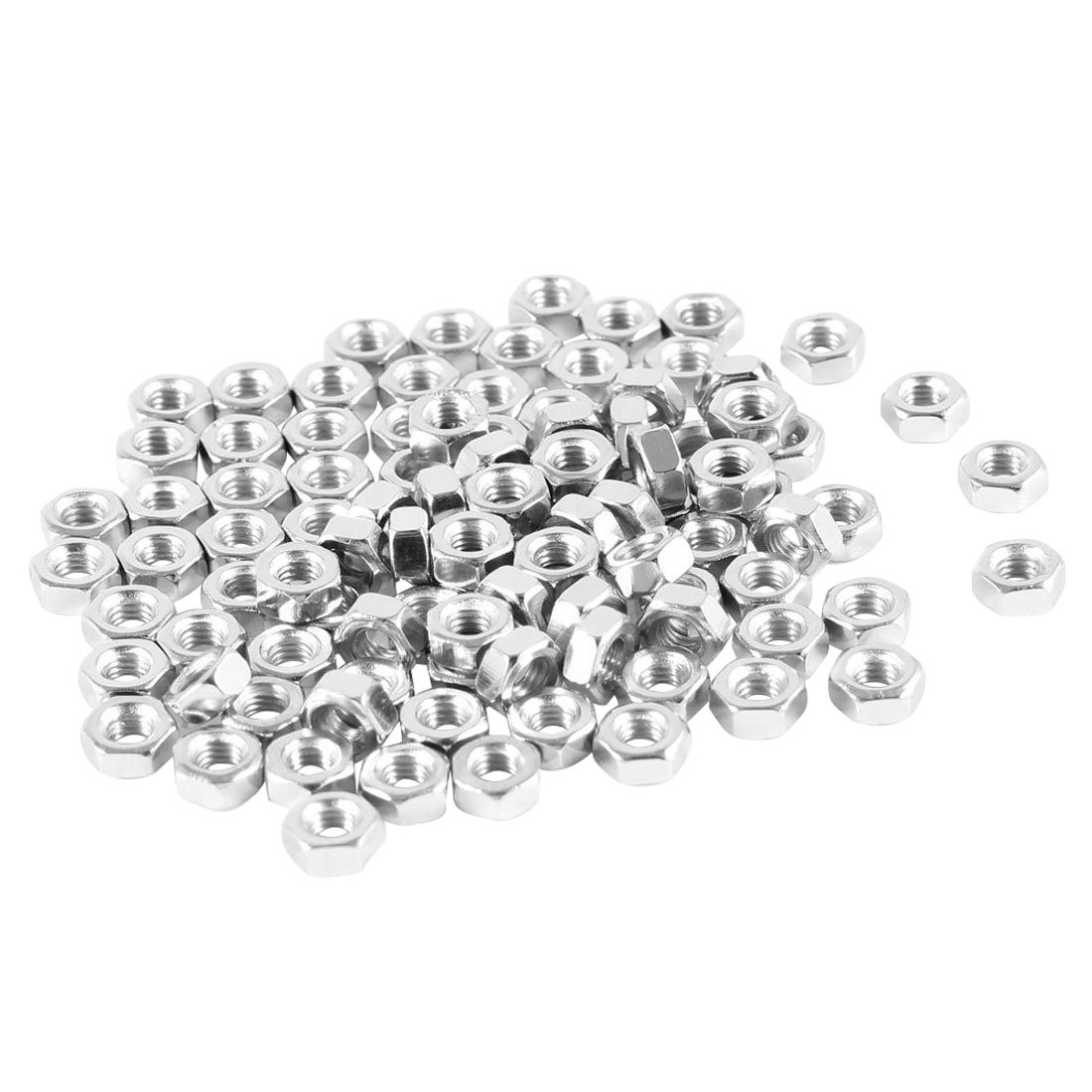 100Pcs M3 3mm Female Thread Hex Metal Nut Fastener Silver Tone