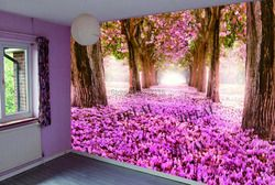 T-8952  fashionable decoration material with led strip tree printing stretch ceiling film