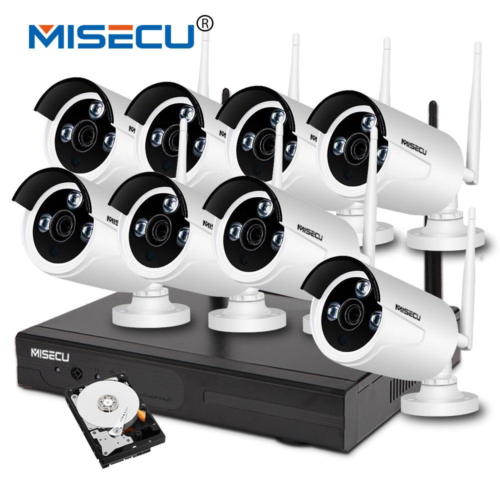 MISECU plug&play 1080P Full HD HDMI 8 Channel NVR wifi KIT night vision 4TB HDD Wireless nvr Eseenet WIFI IP Camera Waterproof