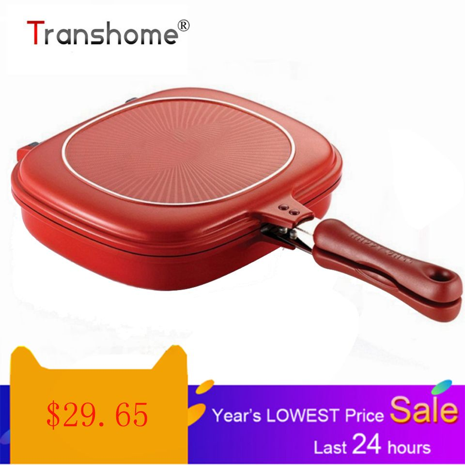 Transhome 28cm Double Side Grill Fry Pan Cookware Stainless Steel Double Face Pan Steak Fry Pan Kitchen Accessories Cooking Tool