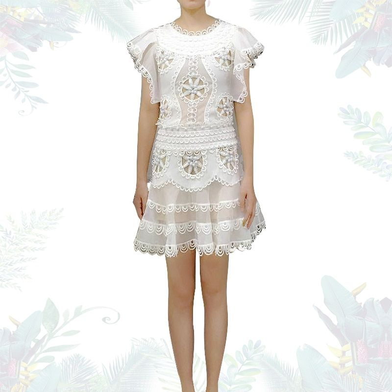 [Maggie] romantic lace Slim thin ruffled sleeves hollow embroidery flower dress 2018 summer 0719