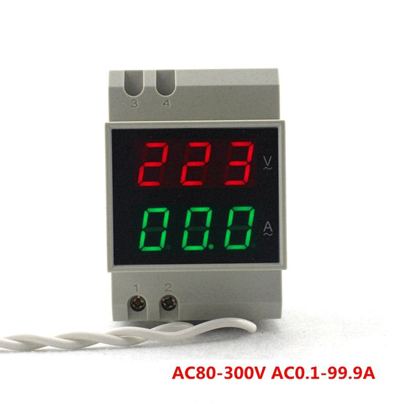 DIN RAIL Digital AC Voltmeter Ammeter AC80-300V 450V Red Green Led AC110V 220V 100A Voltage Detector Current Meter Tester