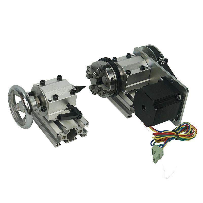 DIY cnc maschine teile 4th achse drehachse mit spannfutter reitstock für CNC 3020 3040 6040