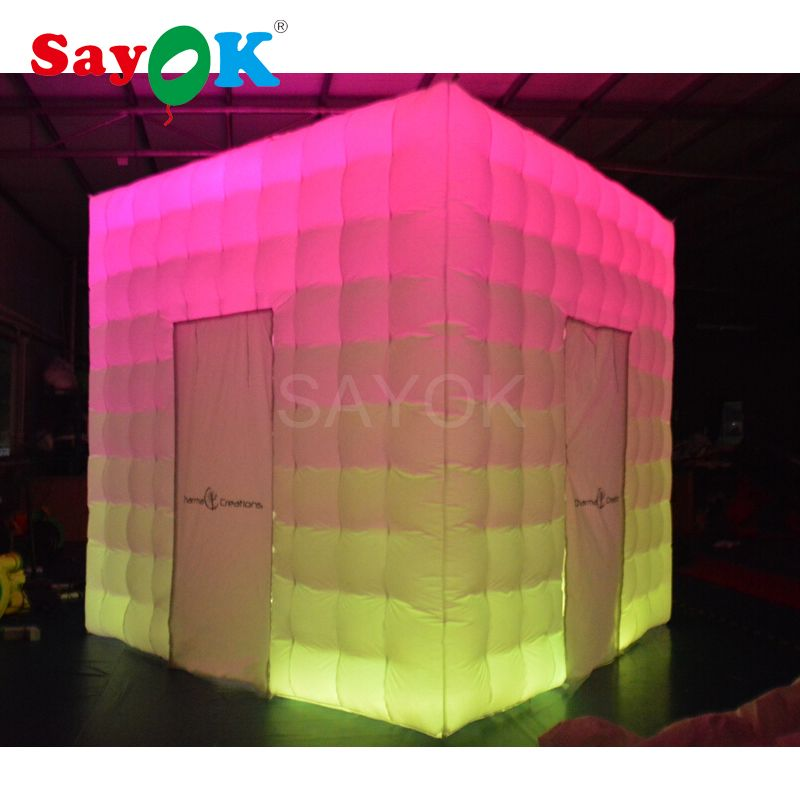 Portable photo booth enclosure inflatable photo booth props photo booth shell with strip lights for wedding, party