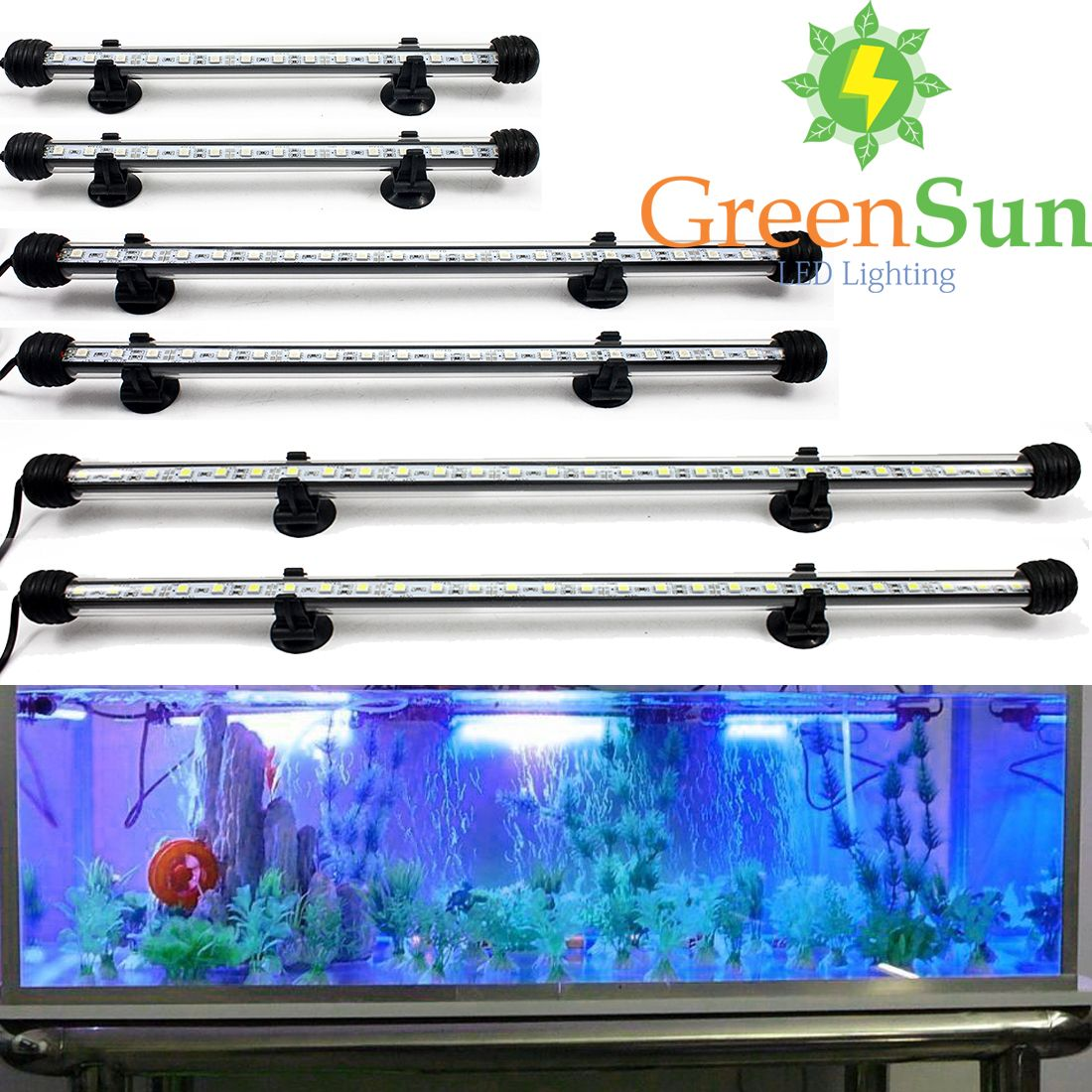 Enchufe de LA UE EE.UU. Plug Acuario Luz LED 18/28/38/48 CM Bar Sumergible Impermeable Clip de Lámpara de la Decoración