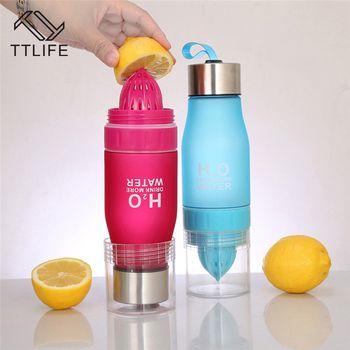 TTLIFE Gift 650ML H2O Lemon Juice Fruit Water Bottle Infuser Drinkware For Outdoor Portable Shaker Sports Bottle BPA Free