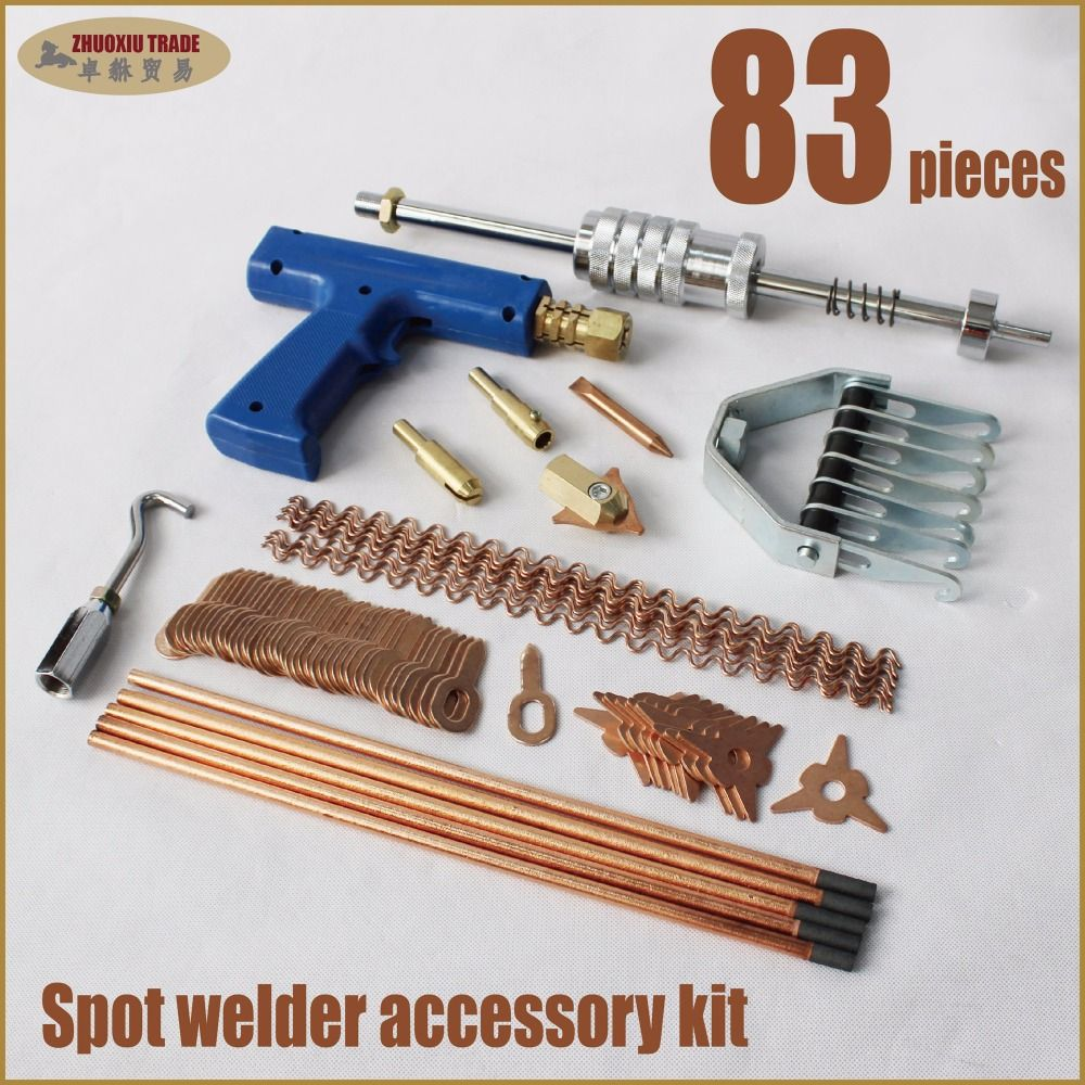 dent puller spot welding machine gun car body repair tools hand weld studs hammer auto pulling system clamp tips electrodes kit