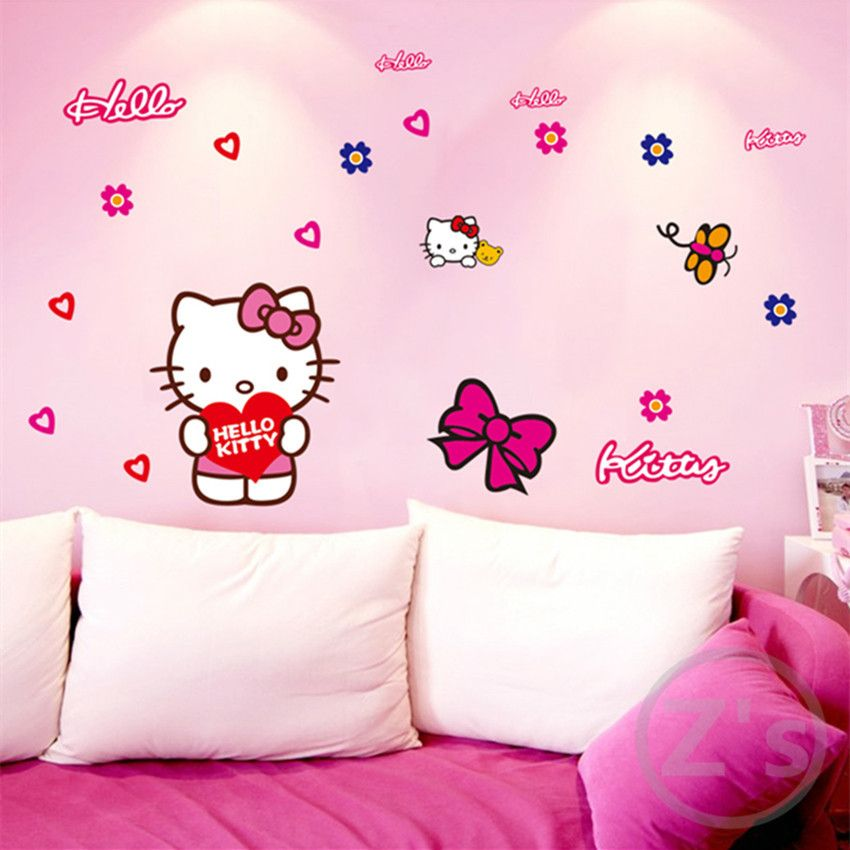 Zs autocollant Hello Kitty Stickers muraux dessin animé stickers muraux pour enfants chambre vinyle enfants chambre décor filles chambre autocollants