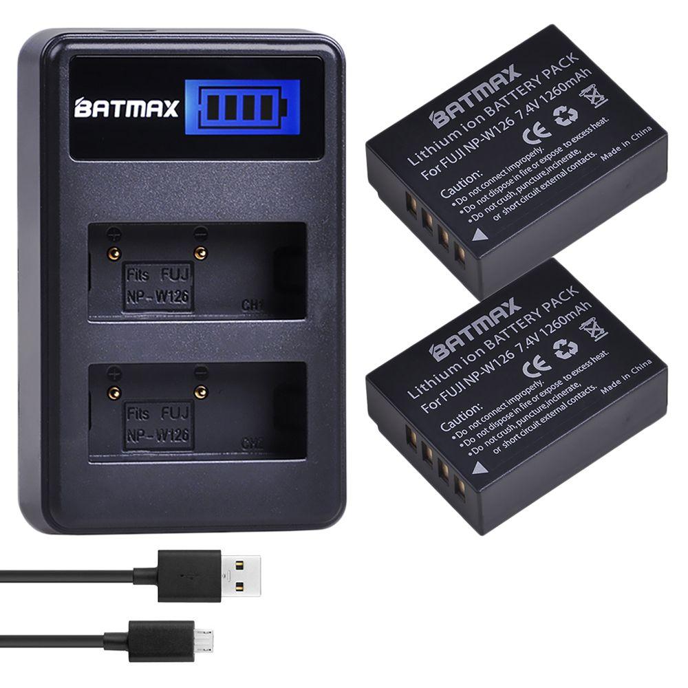 2 pièces 1260 mAh NP-W126 NP W126 NPW126 Batteries & LCD chargeur double pour Fujifilm Fuji X-Pro1 XPro1 X-T1 XT1, HS30EXR HS33EXR X PRO1