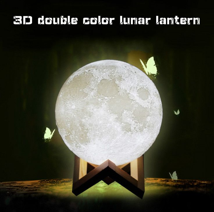 Drop shipping Two-color Moon Light Sensor Energy-saving Night Light 3D Printing Bedside Creative Desk Lamp Led Light Moon Lamp