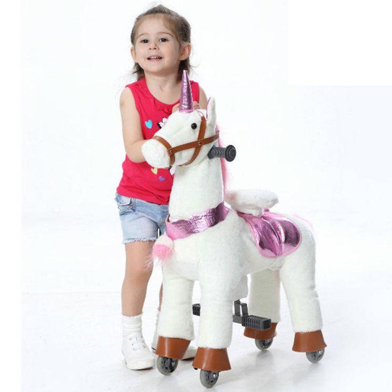 Plüsch Mechanische Pferd Fahrt-auf Roller für 3-7 Jahre Alte Kinder Amusement Einhorn Pony Kind Reitpferd geschenke auf Rädern