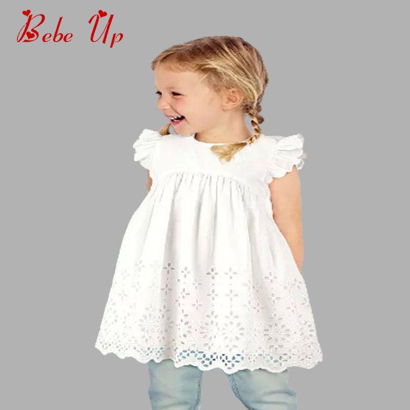 Bébé Filles Robe D'été de Coton Sans Manches Enfants Toddle Robe Blanc Belle Enfants Princesse Vêtements A-ligne Robes Fille Partie