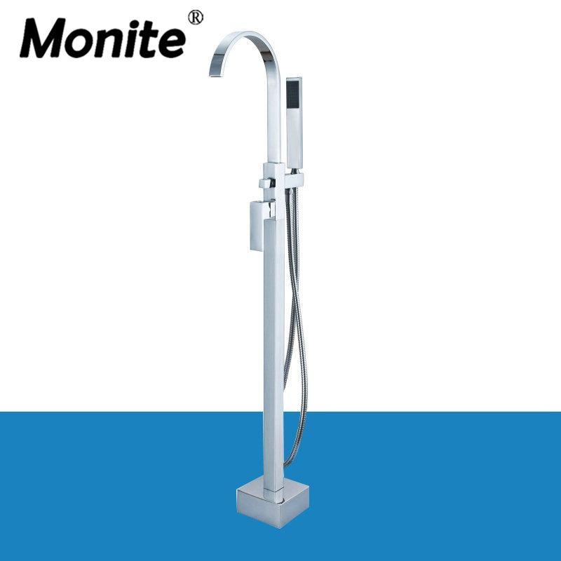 Chrome Messing Einzigen Hebel Freistehende Badezimmer Badewanne Wasserhahn Set Boden Montieren mit Handheld Dusche