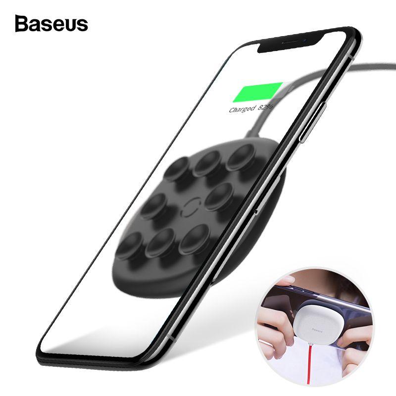 Baseus Ventouse Qi Sans Fil Chargeur Pour iPhone Xs Max Xr X 8 Plus 10 w Rapide Wireless Sans Fil De Charge pad Pour Samsung S9 S8 S7