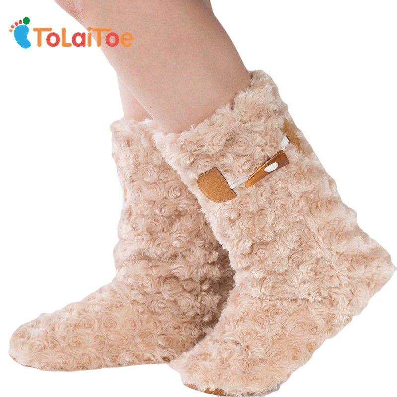 Tolaitoe Best качество Вязание теплая Домашняя обувь высокие ботинки с мягкой подошвой супер нубука вязаная домашняя обувь Гольфы с объемным рис...