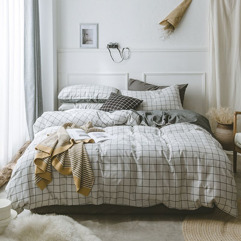 100% Cotton Nordic Style Plaid Duvet Cover Brief Cozy Solid Color Bed Sheet Pillow Case Twin Queen King Size Bedding Sets