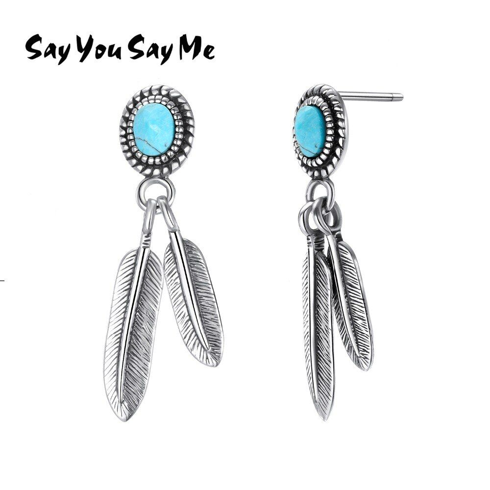 Say You Say Me 925 Sterling Silver Indian Feathers Earrings Bohemia Blue Turquoise Earrings 2018 New Arrival Gift Wholesale