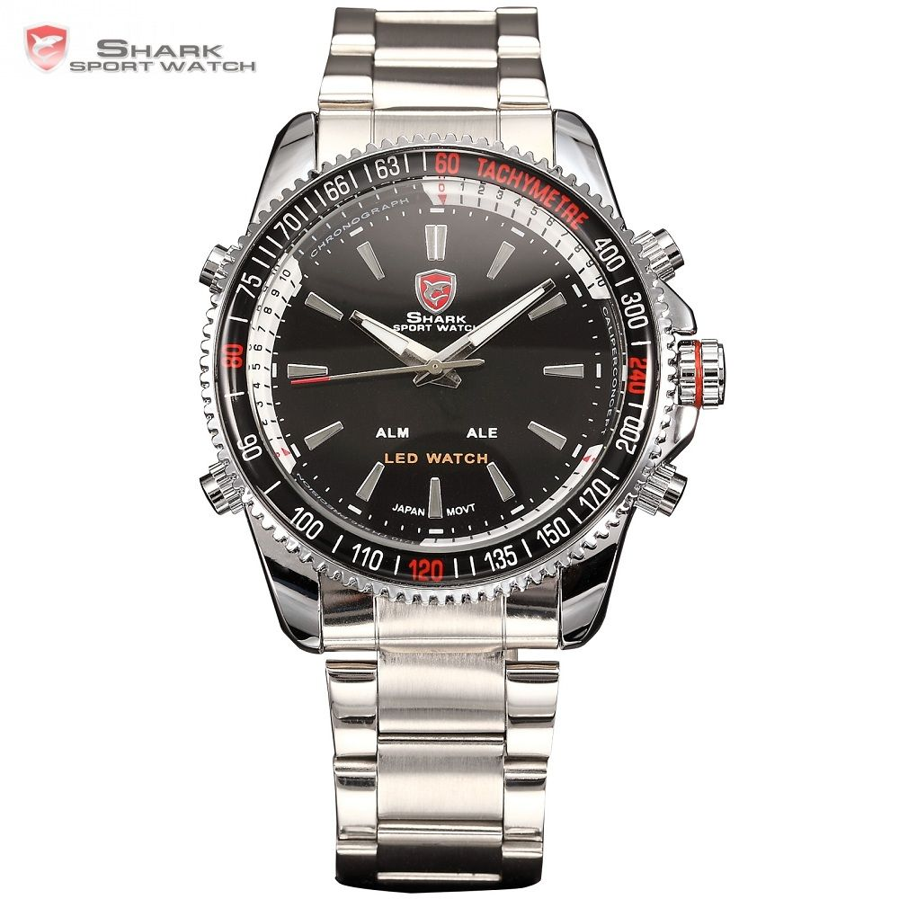 Mako <font><b>SHARK</b></font> Sport Watch Brand Luxury Silver Men's Army Digital LED Calendar Alarm Electronic Waterproof Steel Watches Male /SH003